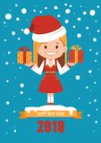 Happy New Year 2018 card. Holiday card with Santa Clause girl. Girl in Christmas Santa outfit. Santa with gift boxes Stock Photography