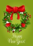 Happy New Year card. Holly pine wreath ribbon Stock Photo