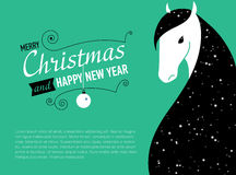 Happy new year card for 2014  of Horse. Happy new year card for 2014 year of Horse Stock Image