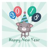 Happy New Year card illustration with cat Stock Photo