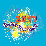 Happy new year 2017. Card with an illustration of fireworks on the background Royalty Free Stock Photo