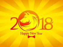2018 Happy new year card or invitation card design concept Stock Photography