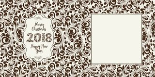 Happy new year card. Happy new year card with khohloma style floral pattern on background and sign 2018, marry christmas on the label. The card containes empty Royalty Free Stock Image