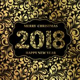 Happy new year card. Happy new year card with khohloma style golden pattern on black background and sign 2018, marry christmas on the label. The card containes Royalty Free Stock Image