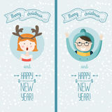 Happy new year card with kids. Happy new year card with cute kids. Vector illustration Merry christmas and Happy new year with snowflakes background Royalty Free Stock Photo