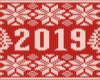 Happy 2019 New Year card, knitted texture. Vector illustration royalty free illustration