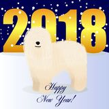 Happy new year card with komondor. Vector royalty free illustration