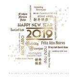 Happy New Year Card Languages 2019. Happy New Year Card Foreign Languages English Spanish Chinese French Japanese German Dutch Hebrew gold elegant stars party Stock Images