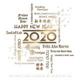 Happy New Year Card Languages 2020. Happy New Year Card Foreign Languages English Spanish Chinese French Japanese German Dutch Hebrew gold elegant stars party Royalty Free Stock Image