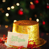 Happy new year card leaning on gold party hat Stock Photography