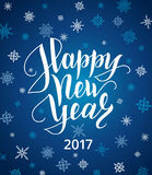 Happy new year card. Lettering over background with snowflakes. Happy new year 2017 card. Lettering over background with snowflakes. Christmas and winter snow Stock Photography