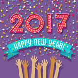 Happy New Year card with light bulb marquee 2017. And confetti falling Royalty Free Stock Photos