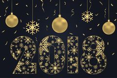 2018 Happy New Year card - made from snowflakes with gold Christmas balls and golden confetti. Holiday poster, banner. Vector. 2018 Happy New Year card - made Royalty Free Stock Images