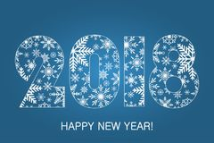 Happy New Year card 2018 - made from snowflakes. Holiday poster, banner. Vector. Happy New Year card 2018 - made from snowflakes. Holiday poster, banner. Vector Stock Photos
