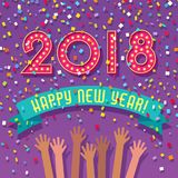 2018 Happy New Year card with marquee numbers. Confetti and people celebrating Royalty Free Stock Images