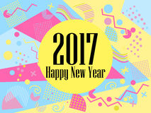 Happy new year 2017 card in the Memphis style. Geometric elements in the Memphis style, colorful geometric chaos. Retro 80s style. Vector illustration Stock Images