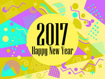 Happy new year 2017 card in the Memphis style. Geometric elements in the Memphis style, colorful geometric chaos. Retro 80s style. Vector illustration Royalty Free Stock Image