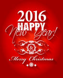2016 Happy New Year and card Merry Christmas card or background. Hand drawn lettering Vector Illustration