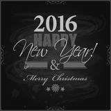 2016 Happy New Year and card Merry Christmas card or background. Hand drawn lettering Stock Illustration