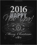 2016 Happy New Year and card Merry Christmas card or background. Hand drawn lettering Royalty Free Illustration