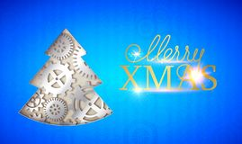 Happy new year card. Merry Xmas sign with fir tree made from gears over blue background. Vector illustration stock illustration