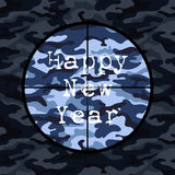 Happy New Year card in military style with sniper scope on blue camouflage Royalty Free Stock Photography