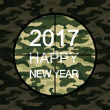 2017 Happy New Year card in military style with sniper scope on green camouflage. Vector Stock Photos
