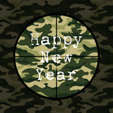 Happy New Year card in military style with sniper scope on green camouflage Stock Images