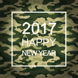 2017 Happy New Year card in military style. Vector. 2017 Happy New Year card in military style on green camouflage. Vector Royalty Free Stock Photography