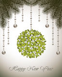 Happy New Year Card Mistletoe. Happy New Year card with fir branches, mistletoe and Christmas decoration Stock Image