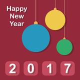 Happy New Year 2017 card. Happy New Year 2017 - modern greeting card in flat design style Royalty Free Stock Image