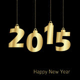Happy new year 2015 card, , modern luxury gold design Stock Photo