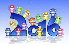 Happy New Year card with monkey Stock Image