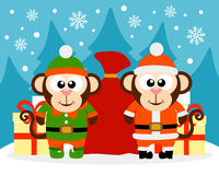Happy New Year card with monkey santa claus and monkey elf. Vector vector illustration