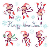 Happy new year card with monkeys - symbol of 2016 Royalty Free Stock Image