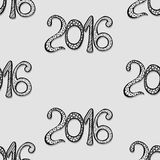 Happy New Year card. Monochrome Happy New Year background with hand drawn numbers Stock Image