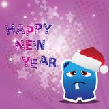 Happy New Year card with monster Royalty Free Stock Image