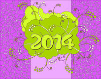 Happy New Year card. 2014 - Happy New Year card in neon style Stock Images