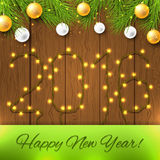 Happy new year card with new year lights Stock Images