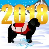 Happy new year card with newfoundland lifesaver. Vector Stock Images
