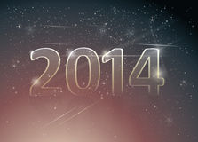 Happy new year card. Number 2014 in night sky Royalty Free Stock Images