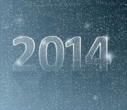 Happy new year card. Number 2014 in snow background vector illustration