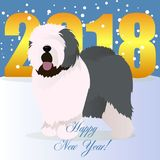 Happy new year card with old english sheepdog Stock Photos