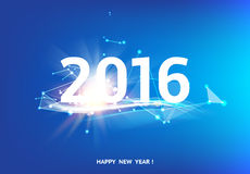 Happy new year card. Over blue background with white polygonal lines. Vector illustration Vector Illustration
