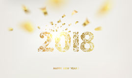 Happy new year card. Happy new year card over gray background with golden confetti. Happy new year 2018. Holiday card. Template for your design. Vector Royalty Free Stock Photography