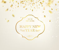 Happy new year card. Happy new year card over gray background with golden sparks. Golden letters. Merry christmas. Vector illustration Royalty Free Stock Photography