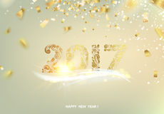 Happy new year 2017. Happy new year card over gray background with golden sparks. Vector illustration Royalty Free Stock Photos
