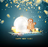 Happy new year card. Over gray background with golden sparks. White sphere on dark background. Holiday christmas toy for fir tree. Vector illustration, contains vector illustration