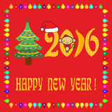 Happy new year 2016 card. Happy new year; 2016 card over the red background, new year and christmas tree; 2016 symbol; monkey; colored balls,  banana, Santa's Royalty Free Stock Photo