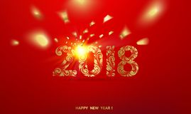 Happy new year card over red background. Happy new year card over red background with golden confetti. Happy new year 2018. Holiday card. Template for your Vector Illustration